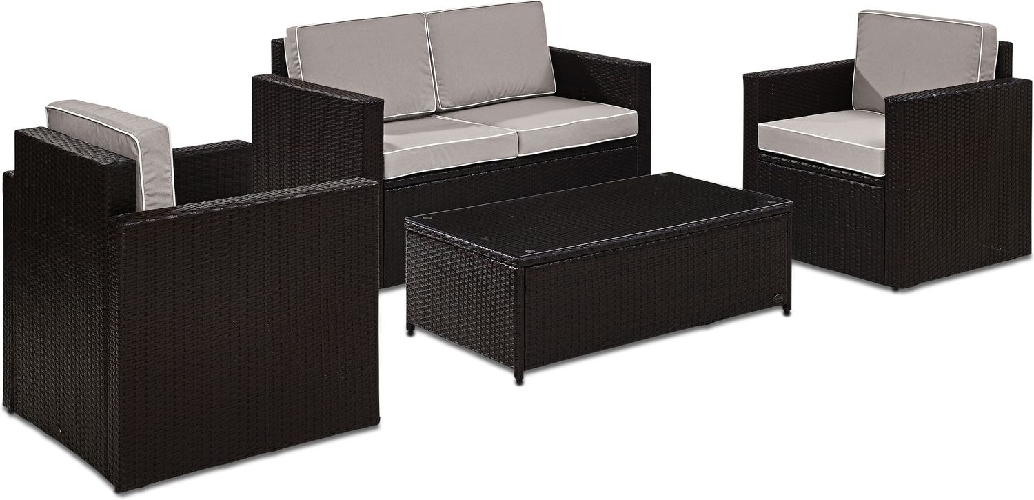 Outdoor Furniture - Aldo Outdoor Loveseat, 2 Chairs, and Coffee Table Set