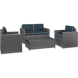 Aldo Outdoor Loveseat, 2 Chairs, and Coffee Table Set - Blue