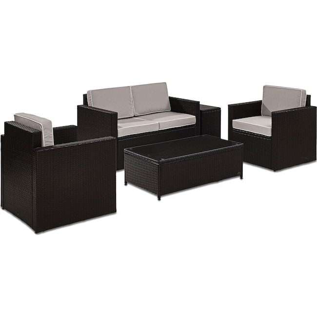 Outdoor Furniture - Aldo Outdoor Loveseat, 2 Chairs, Coffee Table, and End Table Set - Gray