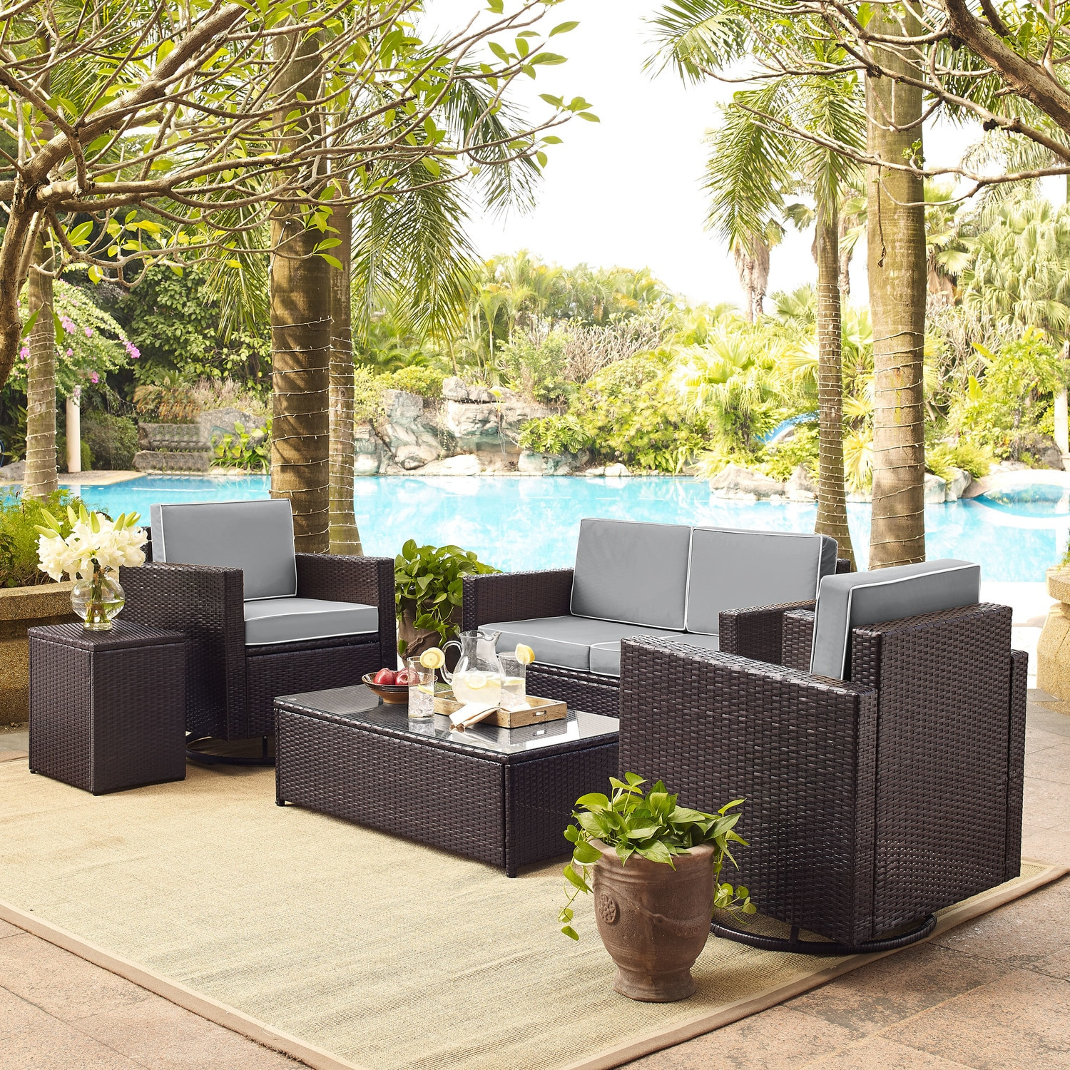 Outdoor Furniture - Aldo Outdoor Loveseat, 2 Swivel Chairs, Coffee Table, and End Table Set - Gray