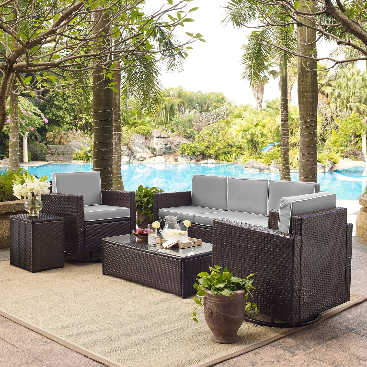 Outdoor Furniture - Aldo Outdoor Sofa, 2 Swivel Chairs, Coffee Table, and End Table Set
