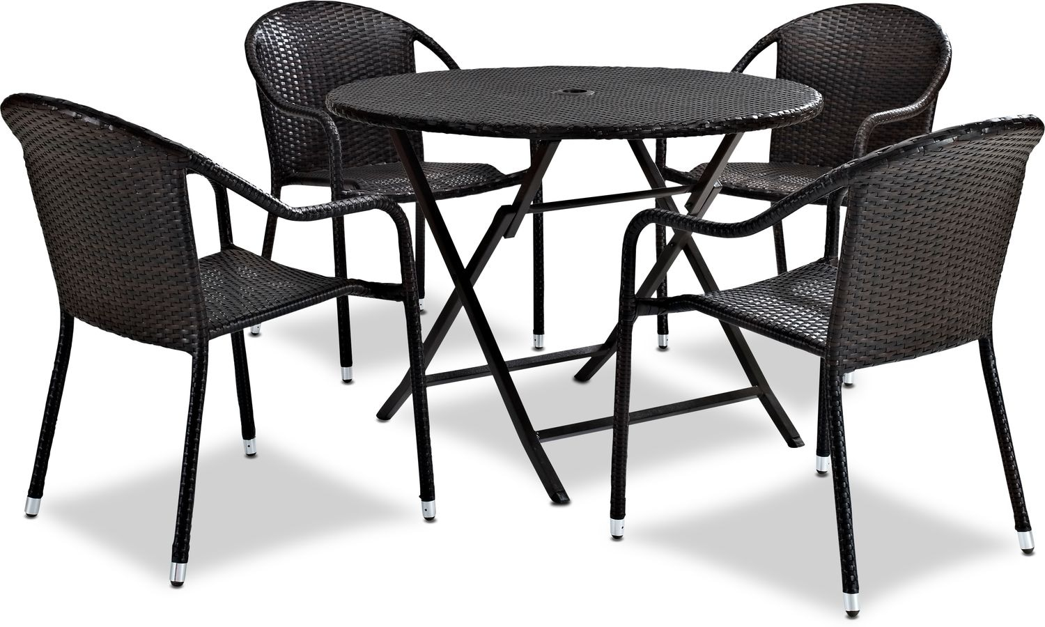 Aldo Outdoor Cafe Table And 4 Arm Chairs American Signature Furniture
