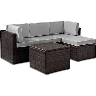 Aldo Outdoor Sofa, Ottoman, and Coffee Table Set - Gray