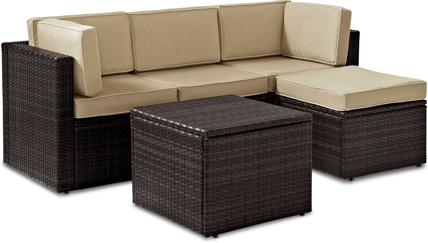 Outdoor Furniture - Aldo Oudoor Sofa, Ottoman, and Coffee Table Set
