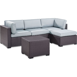 Isla 2-Piece Outdoor Sofa, Ottoman, and Coffee Table Set