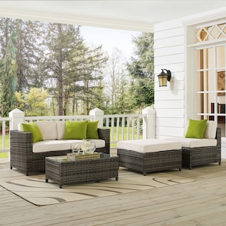 Jacques 2-Piece Outdoor Loveseat, Armless Chair, Ottoman, and Coffee Table Set - Gray