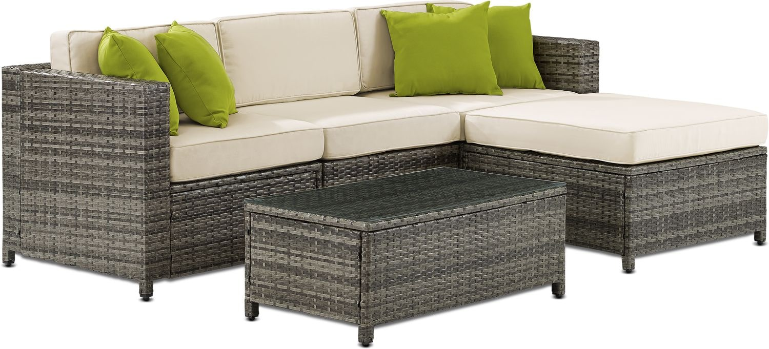 Outdoor Furniture - Jacques 3-Piece Outdoor Sofa, Ottoman, and Coffee Table Set - Gray