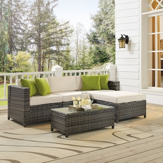 Lakeside 3-Piece Outdoor Sofa, Ottoman, and Coffee Table Set