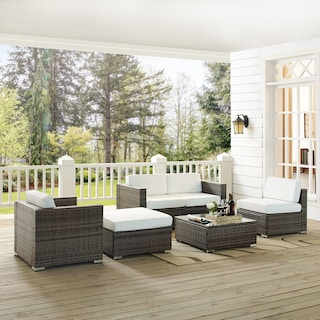 Jacques 2-Piece Outdoor Loveseat, Arm Chair, Armless Chair, Ottoman, and Coffee Table Set - Gray/Whi