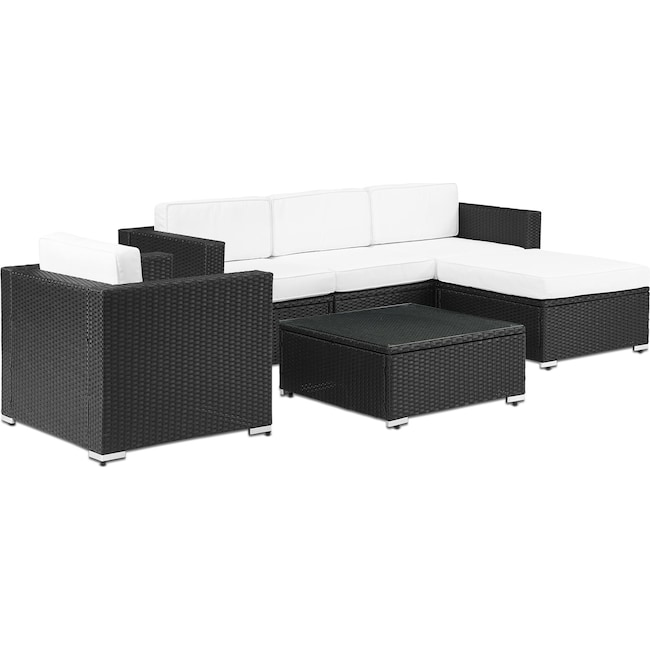 Outdoor Furniture - Jacques 3-Piece Outdoor Sofa, Ottoman, Arm Chair, and Coffee Table Set - Black