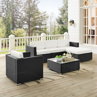Jacques 3-Piece Outdoor Sofa, Ottoman, Arm Chair, and Coffee Table Set - Black