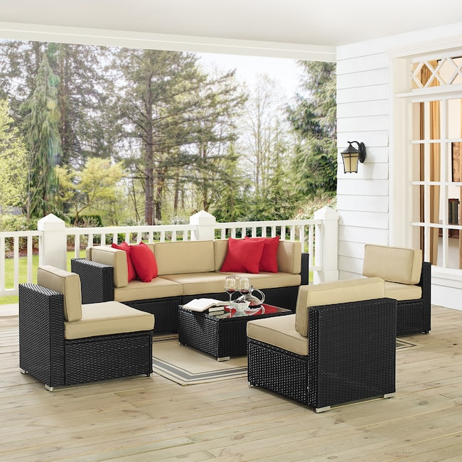 Outdoor Furniture - Jacques 3-Piece Outdoor Sofa, 3 Armless Chairs, and Coffee Table Set - Black