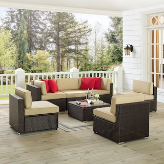Jacques 3-Piece Outdoor Sofa, 3 Armless Chairs, and Coffee Table Set - Brown