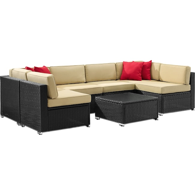 Outdoor Furniture - Jacques 6-Piece Outdoor Sectional and Coffee Table Set