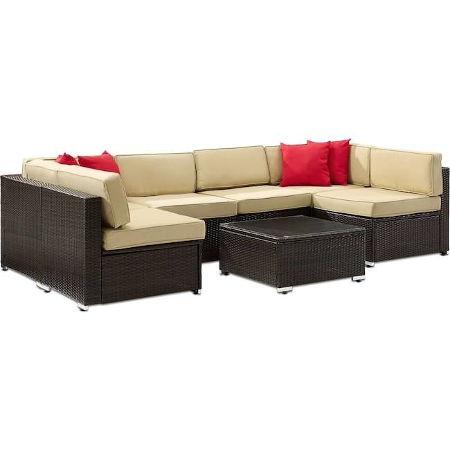Outdoor Furniture - Jacques 6-Piece Outdoor Sectional and Coffee Table Set - Brown