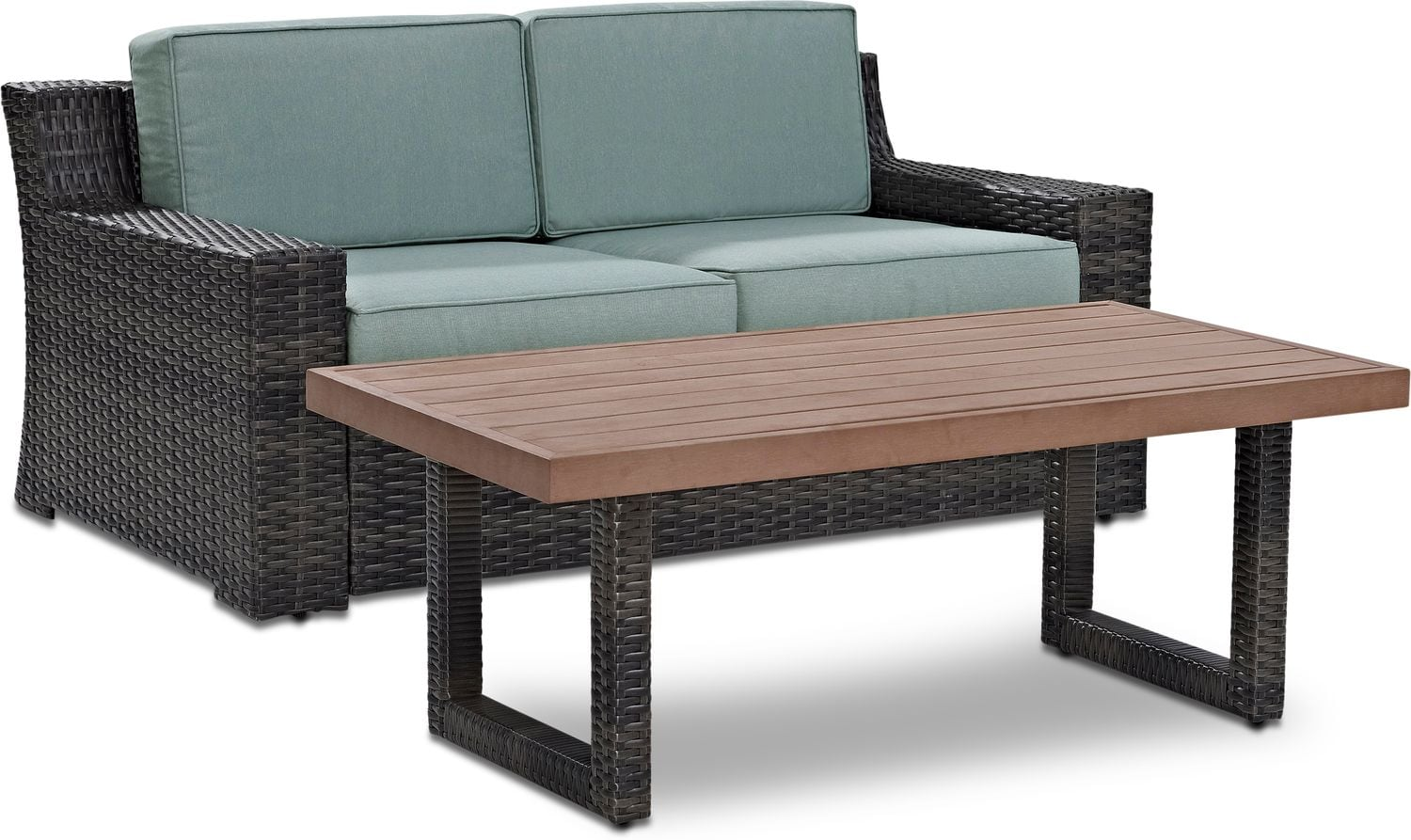 Outdoor Furniture - Tethys Outdoor Loveseat and Coffee Table Set - Mist
