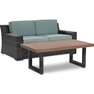 Tethys Outdoor Loveseat and Coffee Table Set - Mist