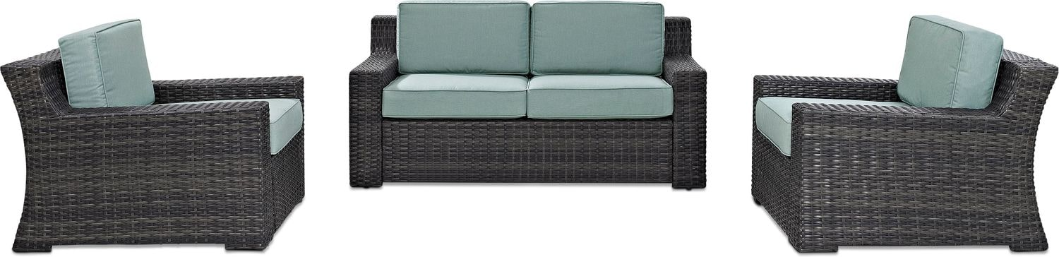 Outdoor Furniture - Tethys Outdoor Loveseat and 2 Chairs Set - Mist