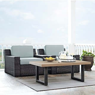 Tethys Set of 2 Outdoor Chairs and Coffee Table Set - Mist