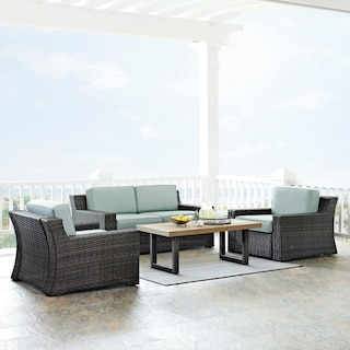 Tethys Outdoor Loveseat, 2 Chairs, and Coffee Table Set - Mist