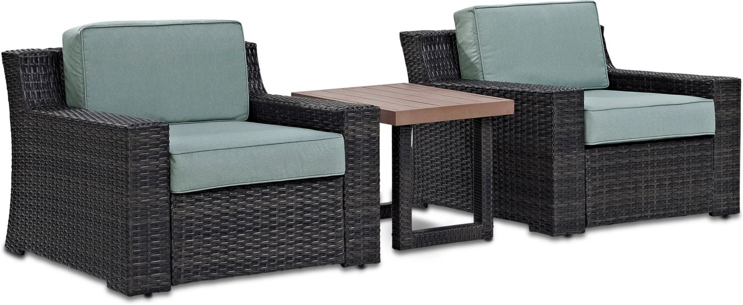 Outdoor Furniture - Tethys Set of 2 Outdoor Chairs and End Table Set - Mist