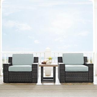 Tethys Set of 2 Outdoor Chairs and End Table Set - Mist