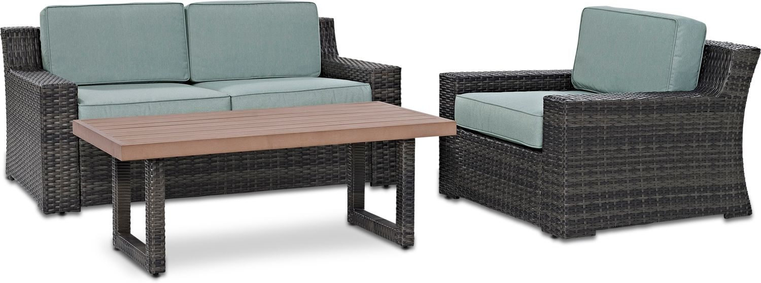 Outdoor Furniture - Tethys Outdoor Loveseat, Chair, and Coffee Table Set