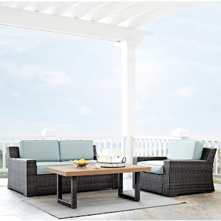 Tethys Outdoor Loveseat, Chair, and Coffee Table Set - Mist