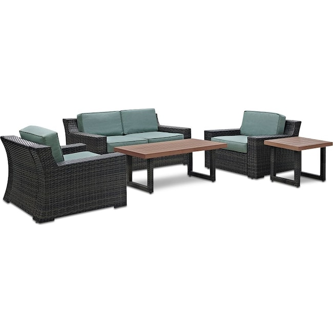 Outdoor Furniture - Tethys Outdoor Loveseat, 2 Chairs, Coffee Table, and End Table Set - Mist