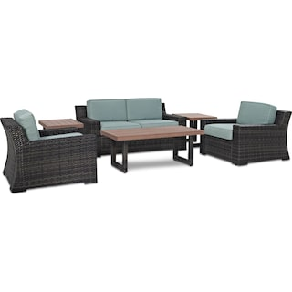 Tethys Outdoor Loveseat, 2 Chairs, Coffee Table, and 2 End Tables Set - Mist
