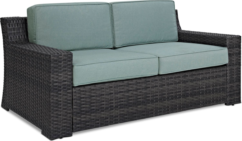 Outdoor Furniture - Tethys Outdoor Loveseat - Mist