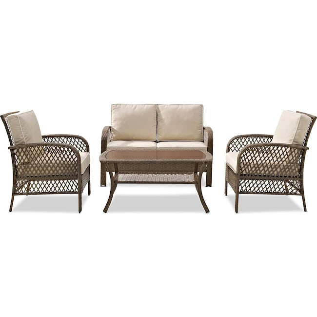 Outdoor Furniture - Zuma Outdoor Loveseat, 2 Chairs, and Coffee Table Set