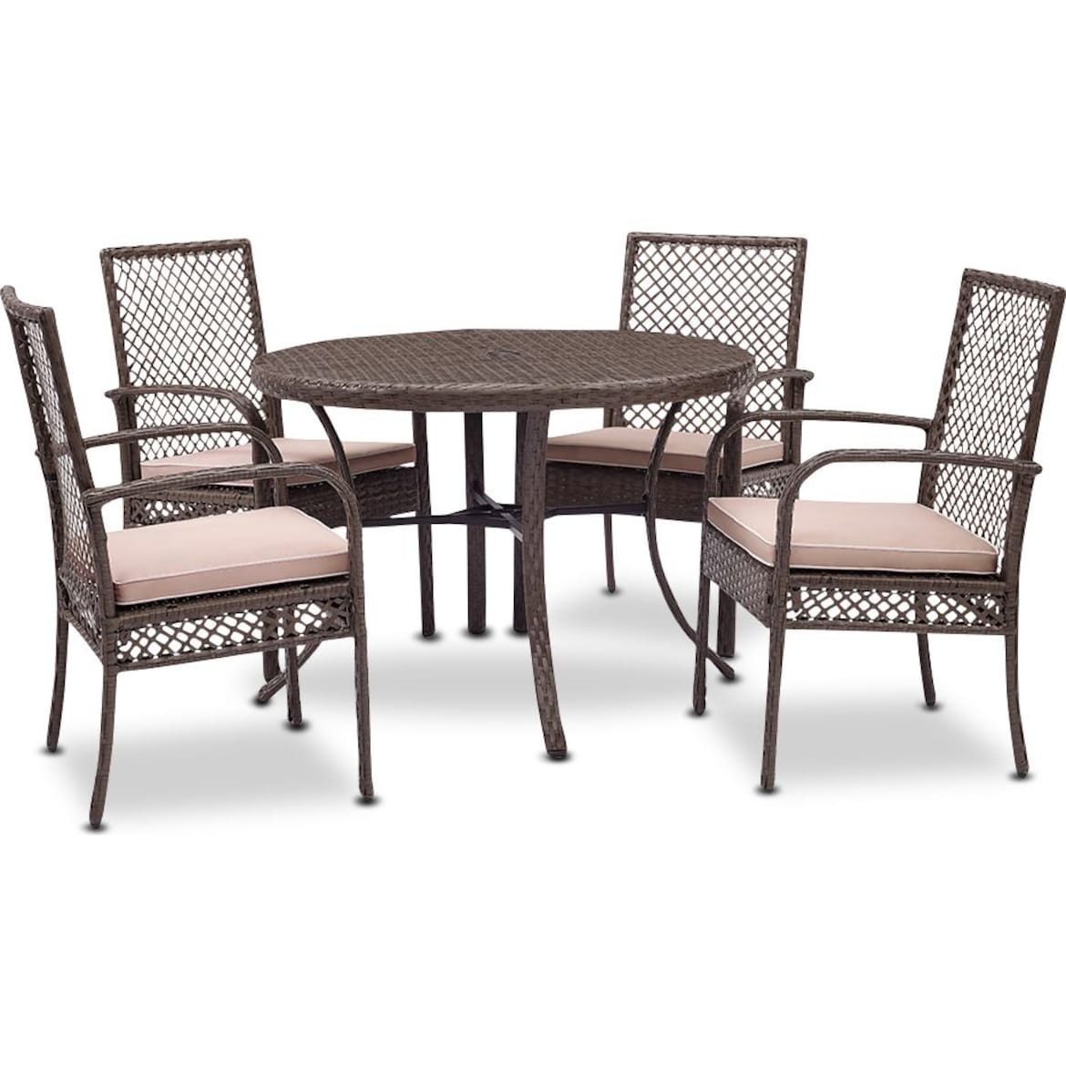 Zuma Outdoor Dining Table And 4 Chairs Gray American