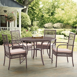 Zuma Outdoor Dining Table and 4 Chairs - Gray