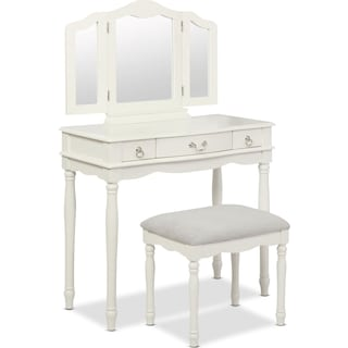 Kendall Youth Vanity, Mirror, and Stool Set - White