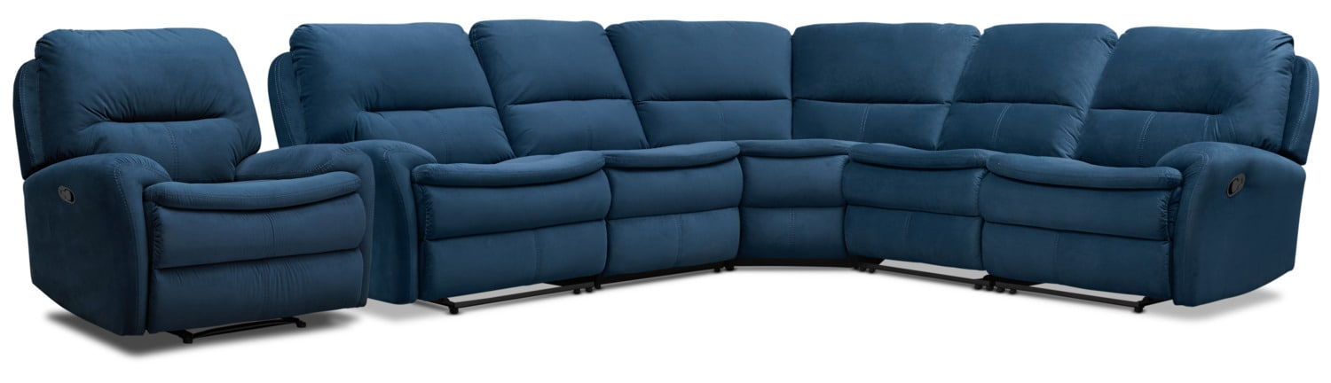 Living Room Furniture - Cruiser 5-Piece Manual Reclining Sectional and Recliner Set - Ink