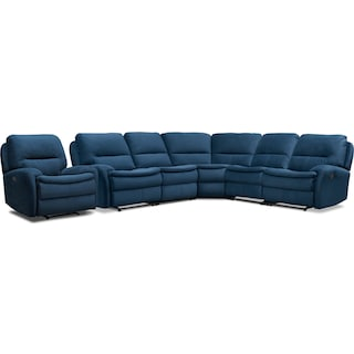 Cruiser 5-Piece Manual Reclining Sectional and Recliner Set - Ink