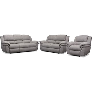 Aldo Power Reclining Sofa, Loveseat + FREE RECLINER - Gray