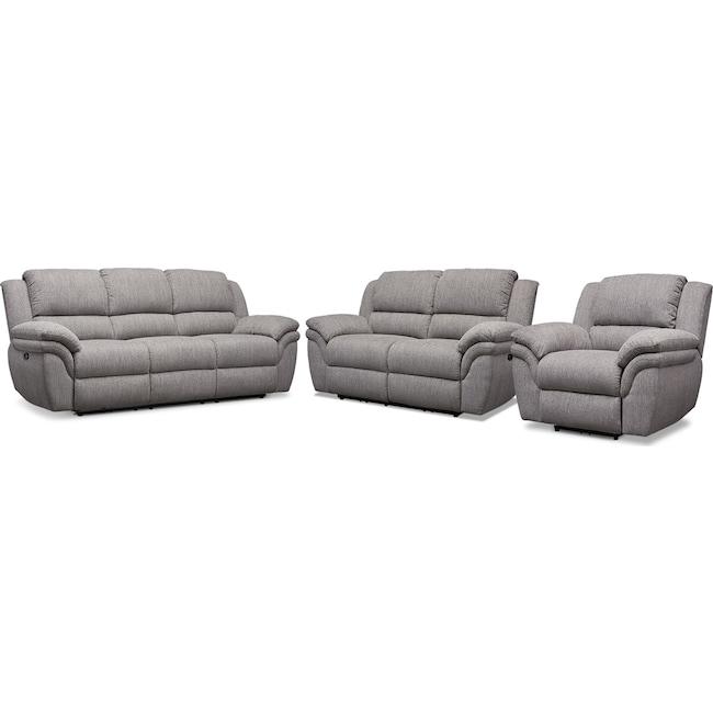 Living Room Furniture - Aldo Power Reclining Sofa, Loveseat + FREE RECLINER
