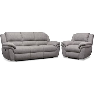 Aldo Manual Reclining Sofa and Recliner Set - Gray