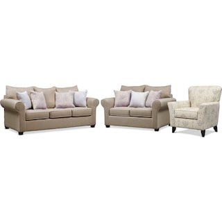 Carla Queen Innerspring Sleeper Sofa, Loveseat, and Accent Chair Set - Beige