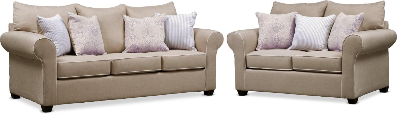 Living Room Furniture - Carla Queen Sleeper Sofa and Loveseat Set