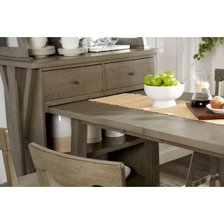 Maxton Counter-Height Table with Media Hutch and 2 Stools - Graystone