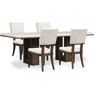Brooks Dining Table and 4 Side Chairs - White