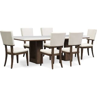 Brooks Dining Table and 6 Side Chairs - White