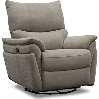 Maddox Manual Reclining Swivel Chair - Platinum