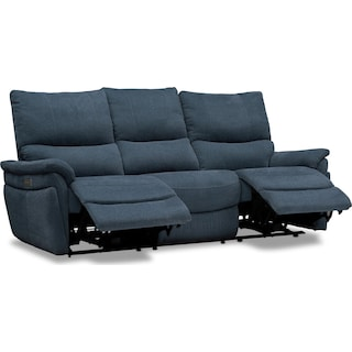 Maddox Triple Power Reclining 2-Piece Sofa - Blue