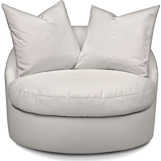 Plush Swivel Chair - Ivory