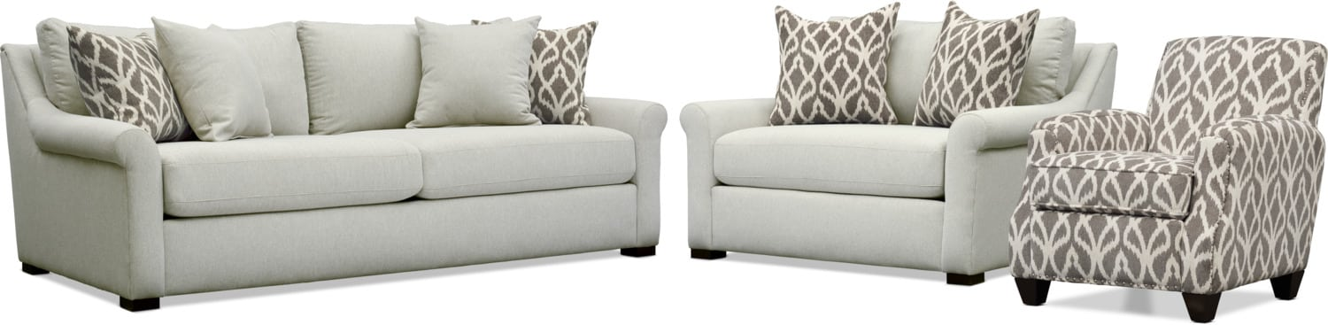 Living Room Furniture - Robertson Sofa, Chair and a Half, and Accent Chair - Gray