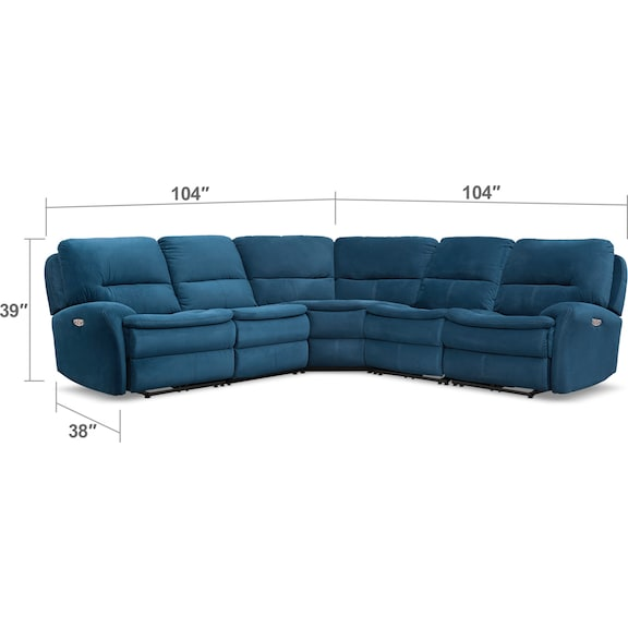 Living Room Furniture - Cruiser 5-Piece Dual Power Reclining Sectional with 3 Reclining Seats - Ink